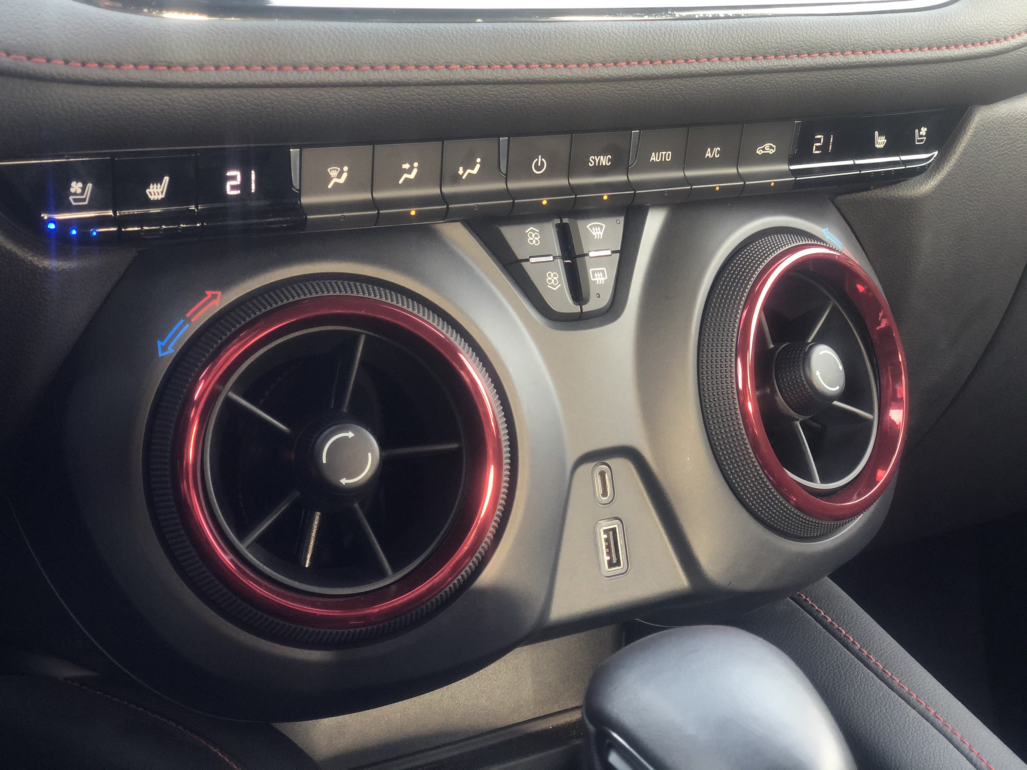 The five-inch circular air conditioning ventilation mounted on the center console