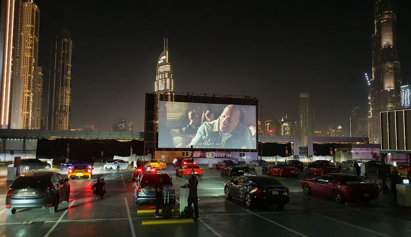 Reel Cinemas has recently launched a drive-thru cinema for all movie-goes providing entertainment within your safe space with the Burj Khalifa backdrop.